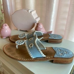 Jack Rodgers Jacks flat sandals, blue leather 8